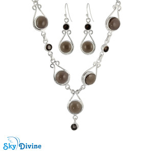 Sterling Silver Smoky Quartz Set SDAST01 SkyDivine Jewelry