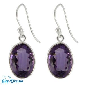 925 Sterling Silver amethyst Earring SDER2178 SkyDivine Jewelry