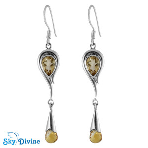 Sterling Silver Citrine Earring SDAER21a SkyDivine Jewelry