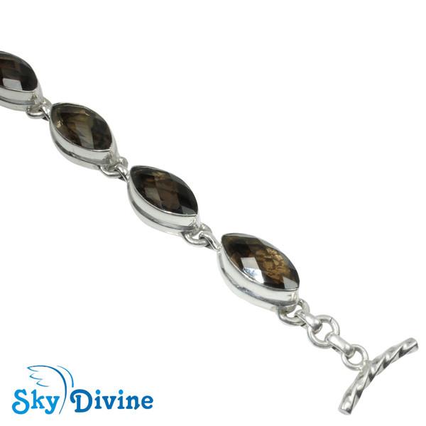 Sterling Silver Smoky Quartz Bracelet SDABR05 SkyDivine Jewellery Image4