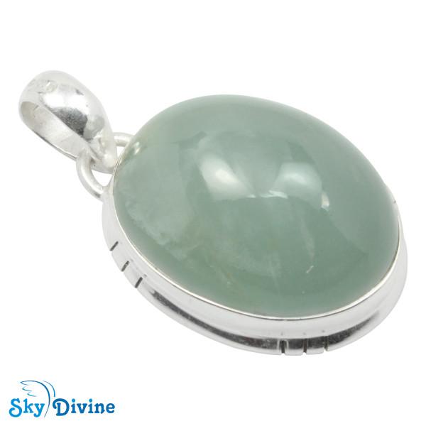 925 Sterling Silver Milky Aquamarine Pendant SDPN2115 SkyDivine Jewellery