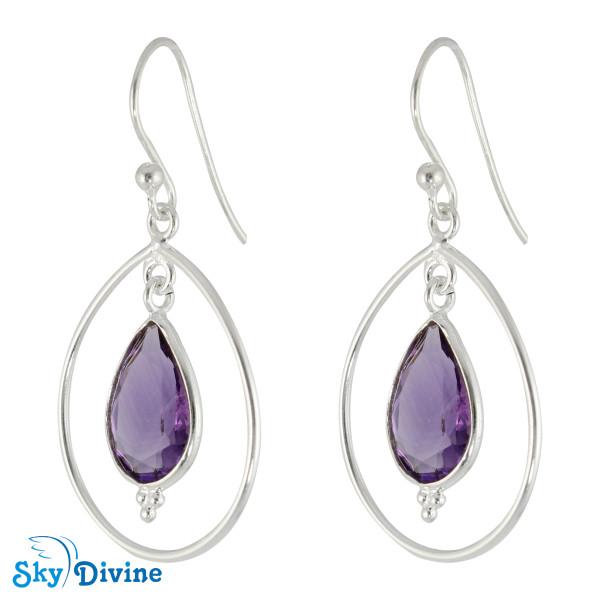 925 Sterling Silver amethyst Earring SDER2169 SkyDivine Jewellery