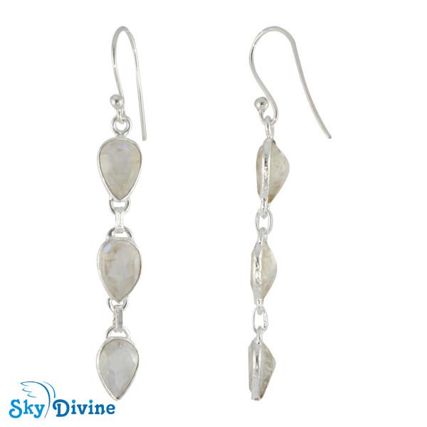 925 Sterling Silver Rainbow moon Stone Earring SDER2174 SkyDivine Jewellery Image2