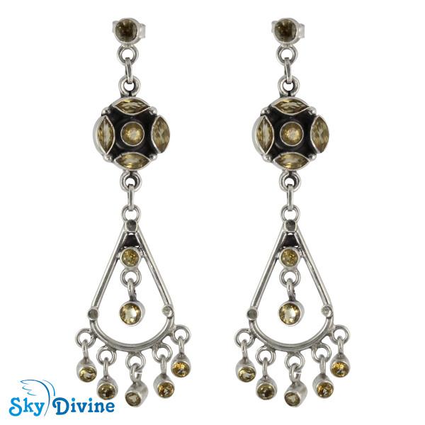 925 Sterling Silver Citrine Earring SDAER25b SkyDivine Jewellery