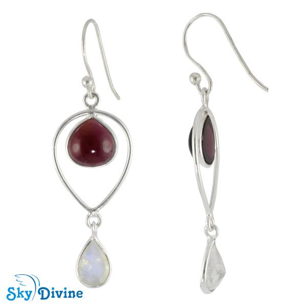 Sterling Silver moon stone Earring SDER2122h SkyDivine Jewellery Image2