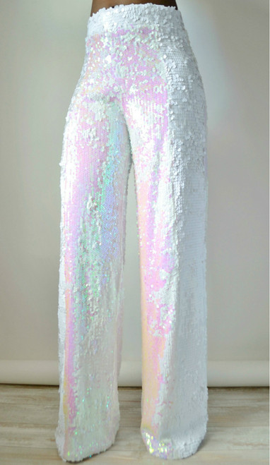 White Iridescent Sequin Wide Leg Pants