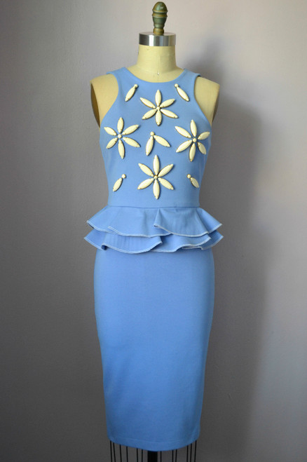 Daisy Embellish Peplum Dress Front
