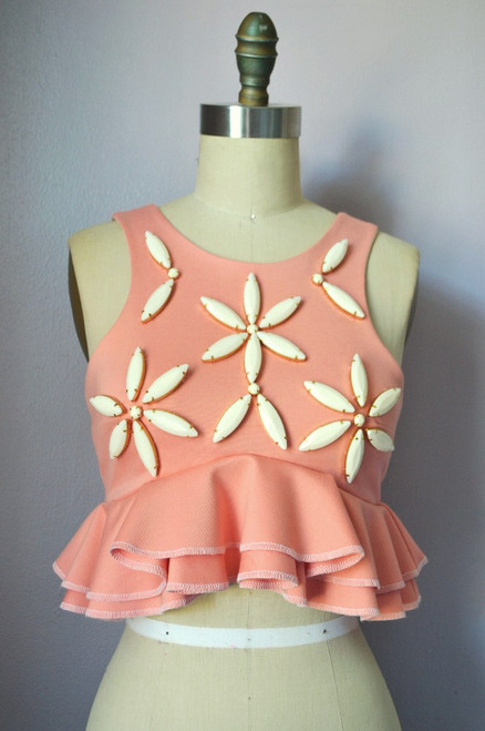 Daisy Embellish Crop Top Front