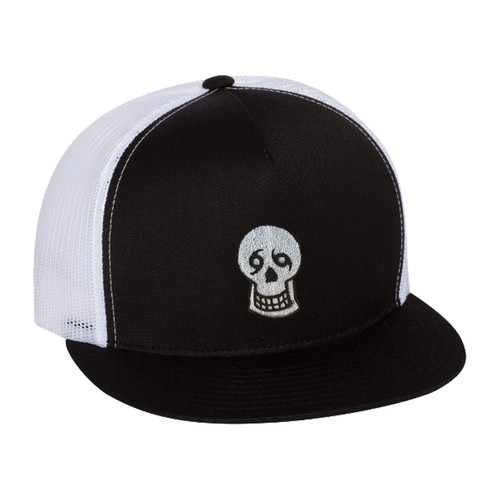 Skull Snapback Hat (black/white)