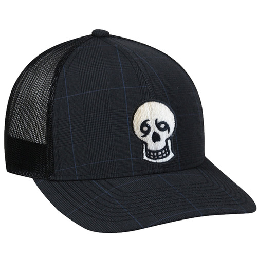 Skull Trucker Mesh Hat (black plaid)