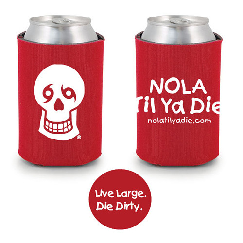 Logo Live Large Die Dirty Koozie (red)