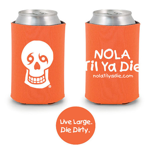 Logo Live Large Die Dirty Koozie (orange)