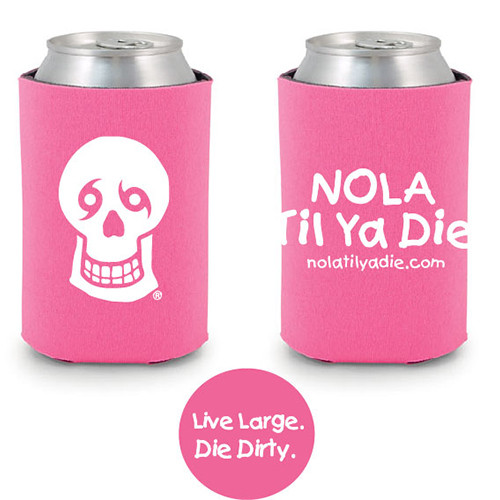 Logo Live Large Die Dirty Koozie (pink)