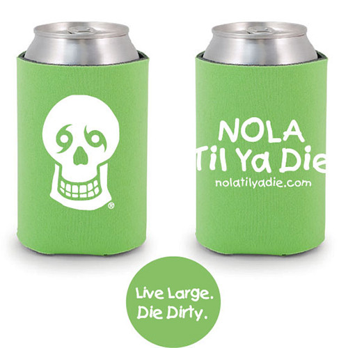 Logo Live Large Die Dirty Koozie (green)