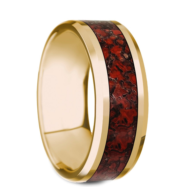 The Podalirius Beveled Polished 14K Yellow Gold Ring with Red Dinosaur Bone Inlay from Vansweden Jewelers
