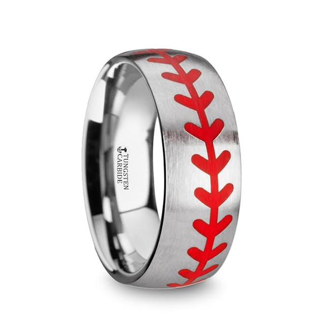 The Amyclas Titanium Brushed Finish Ring with Red Baseball Stitching Pattern from Vansweden Jewelers
