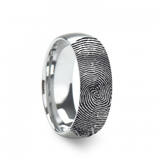 The Argynnus Engraved Domed Brushed Tungsten Ring Brushed Ring from Vansweden Jewelers