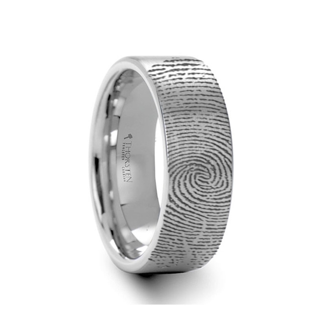 The Arcesilaus Engraved Flat Pipe Cut Tungsten Ring Brushed Ring from Vansweden Jewelers