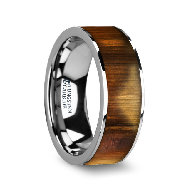 The Dryas Olive Wood Inlaid Flat Tungsten Carbide Ring with Polished Edges from Vansweden Jewelers