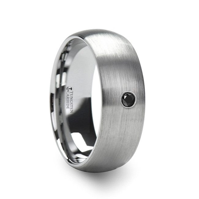 The Antinous Tungsten Carbide Brushed Finish Domed Ring with Black Diamond from Vansweden Jewelers