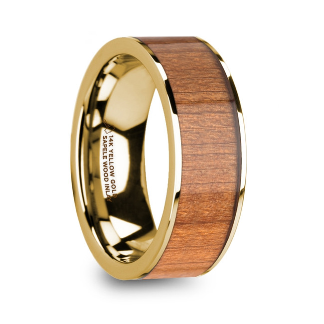 The Dolius Men's Polished 14k Yellow Gold Flat Wedding Ring with Sapele Wood Inlay from Vansweden Jewelers