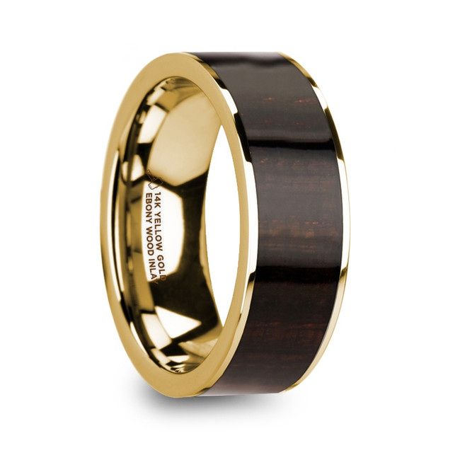 The Astyoche Men's Polished 14k Yellow Gold Flat Wedding Ring with Ebony Wood Inlay from Vansweden Jewelers
