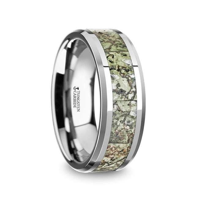 The Ormenus Men's Tungsten Wedding Band with Light Green Dinosaur Bone Inlay & Beveled Edges from Vansweden Jewelers