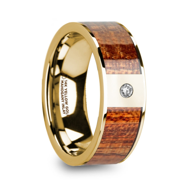 The Astydameia Men's Mahogany Wood Inlaid Polished 14k Yellow Gold Wedding Band with Diamond from Vansweden Jewelers
