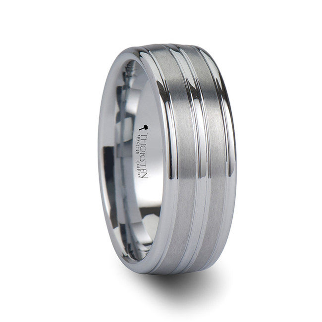The Aglaea Triple Grooved White Tungsten Carbide Ring from Vansweden Jewelers