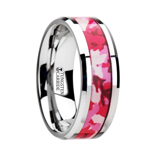 The Polystratus Tungsten Wedding Ring with Pink and White Camouflage Inlay from Vansweden Jewelers