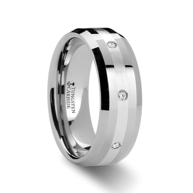 The Anaxo Beveled Tungsten 0.32 CT Diamond Carbide Ring with Silver Inlaid from Vansweden Jewelers