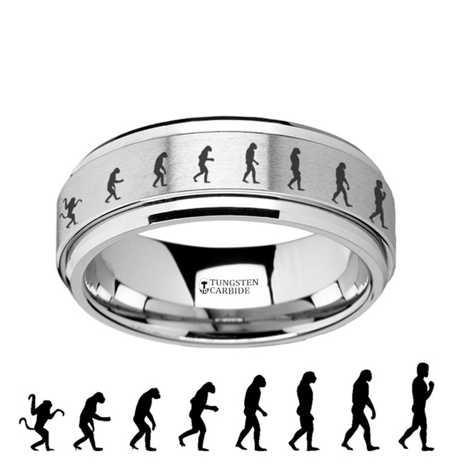 The Eurythemista Spinning Engraved Human Evolution Tungsten Carbide Spinner Wedding Band from Vansweden Jewelers