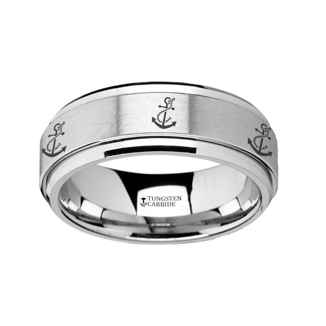 The Dimoetes Spinning Engraved Artistic Anchor Tungsten Carbide Spinner Wedding Band from Vansweden Jewelers