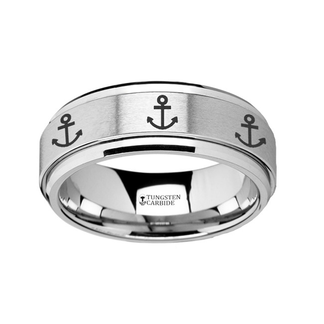 The Scylaceus Spinning Engraved Anchor Tungsten Carbide Spinner Wedding Band from Vansweden Jewelers