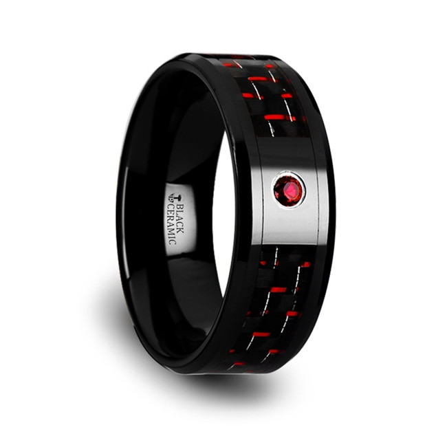 The Syleus Black Ceramic Ring with Black and Red Carbon Fiber and Red Ruby Setting from Vansweden Jewelers