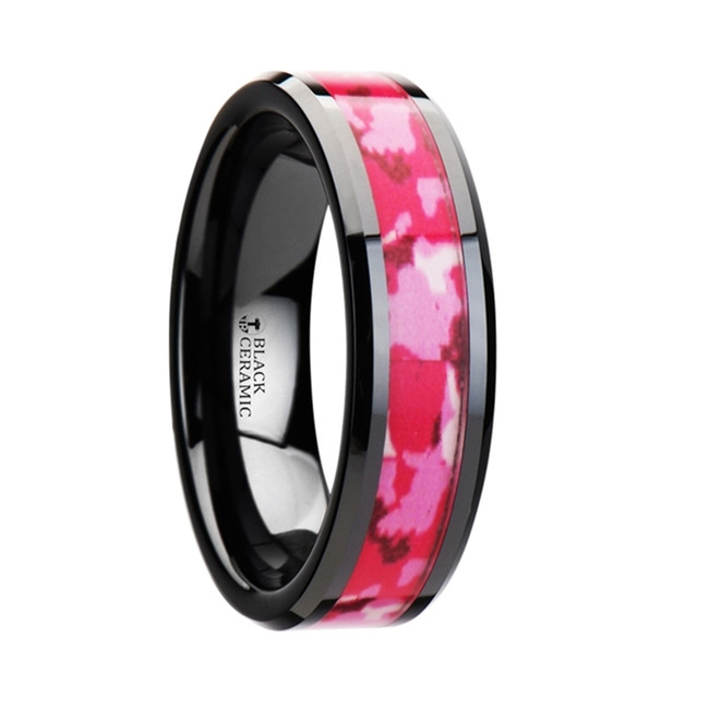 The Stentor Black Ceramic Ring with Pink and White Camouflage Inlay from Vansweden Jewelers