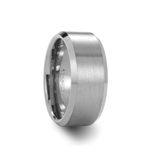 The Chrysanthis Beveled Tungsten Carbide Ring with Brushed Center from Vansweden Jewelers