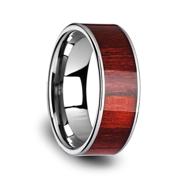 The Lycaste Flat Tungsten Carbide Band with Exotic Brazilian Rose Wood Inlay and Polished Edges from Vansweden Jewelers