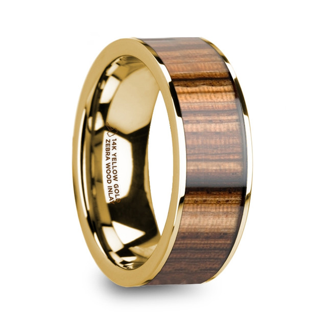 Diocles 14K Yellow Gold Polished Wedding Band with Zebra Wood Inlay from Vansweden Jewelers
