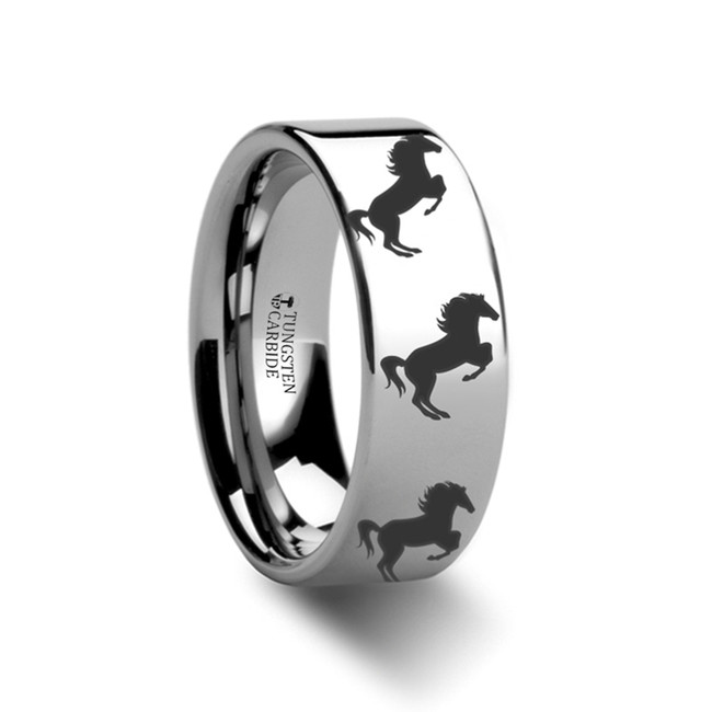 Ornytus Horse Hind Legs Engraved Flat Tungsten Ring from Vansweden Jewelers