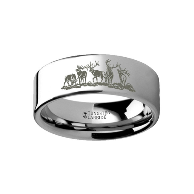 Bura Landscape Scene with Deer Engraved Flat Tungsten Ring from Vansweden Jewelers