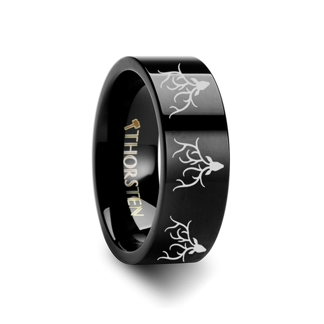 Lethaea Reindeer Deer Stag head Engraved Flat Black Tungsten Ring from Vansweden Jewelers