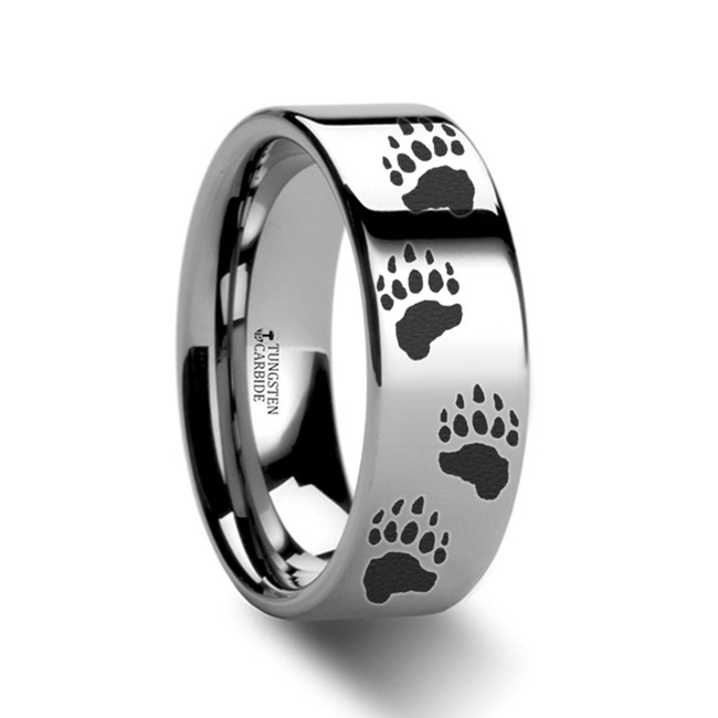 Apis Bear Paw Print Engraved Flat Tungsten Ring from Vansweden Jewelers