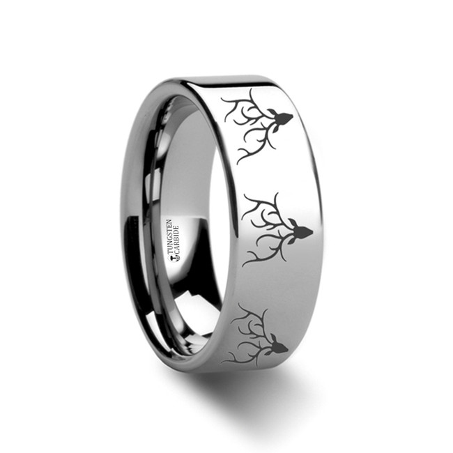 Zeuxippe Stag Head Engraved Flat Tungsten Ring from Vansweden Jewelers