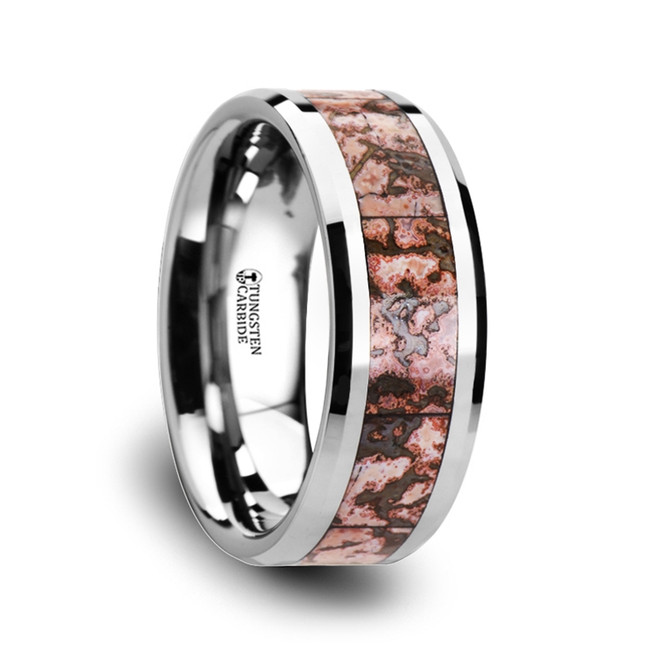 Mantius Pink Dinosaur Bone Inlaid Tungsten Carbide Beveled Edged Ring from Vansweden Jewelers