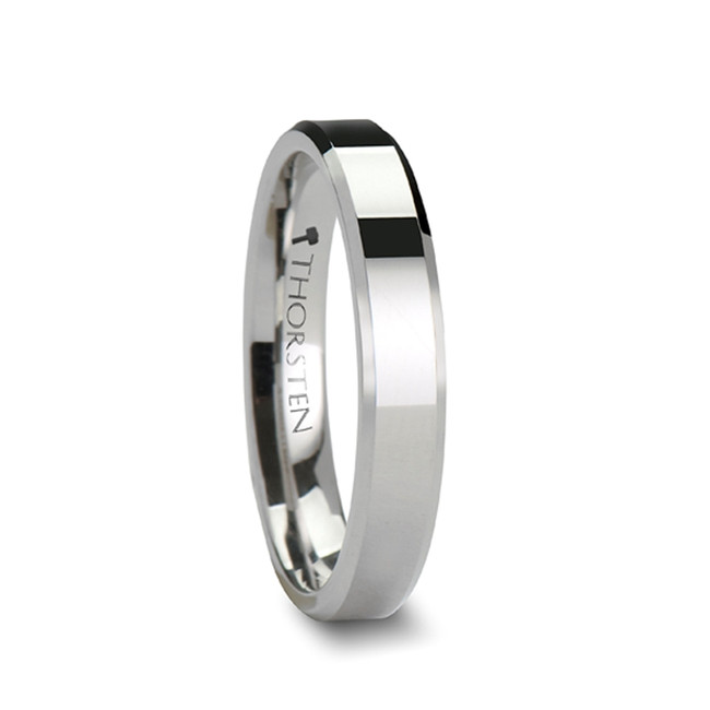 Amphinome White Tungsten Carbide Ring with Beveled Edges from Vansweden Jewelers