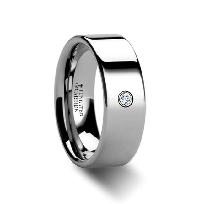 Phocus Pipe Cut Polished Tungsten Diamond Ring from Vansweden Jewelers