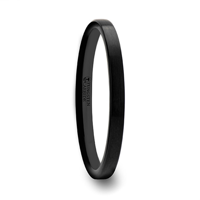 Laodice Black Flat Shaped Women's Tungsten Wedding Band with Brushed Finish from Vansweden Jewelers