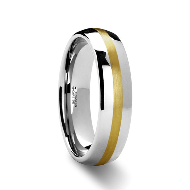 Cestrinus Rounded Tungsten Carbide Ring with Gold Inlaid from Vansweden Jewelers