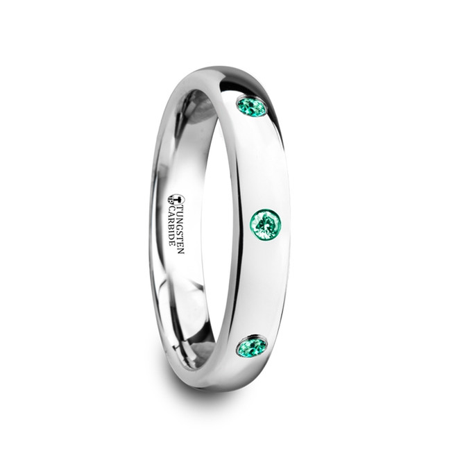 Miletus Polished and Domed Tungsten Carbide Wedding Ring with 3 Green Emeralds from Vansweden Jewelers